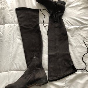 Charcoal Grey Knee High Tie Boots